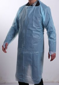 DISPOSABLE BLUE clean cloth FACTORY - CPE APRON WITH SLEEVES